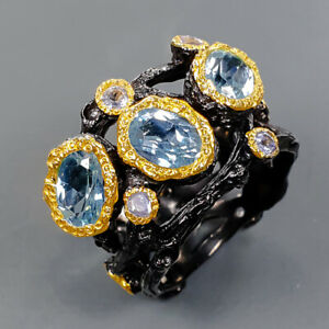 Design jewelry Blue Topaz Ring Silver 925 Sterling  Size 6.5 /R176901