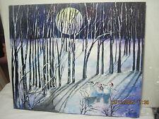 Beautiful Acrylic Painting Snow Scene With Snowman Snowmen by Lizzy Rainey