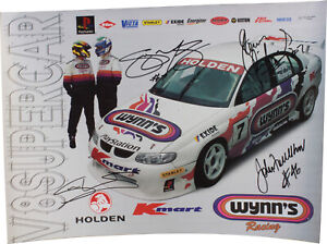 Signed Richards / Murphy / Faulkner 1999 Wynn's Racing Poster Holden Commodore