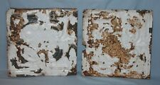 Pair Vintage 12 x 12 Embossed Tin Ceiling Tiles Chippy Paint #1