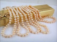 """Wholesale Natural Pearl Necklace 5 Strands 7-8mm Pink Akoya Pearl Necklace 17"""""""