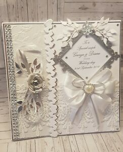 Wedding Card Personalised Large Handmade 8x8 inch Card and Comes Gift Boxed
