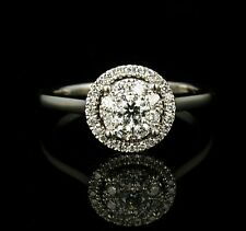 ZALES NATURAL 1/2ctw DIAMOND SOLID 14K WHITE GOLD DOUBLE FRAME HALO CLUSTER RING
