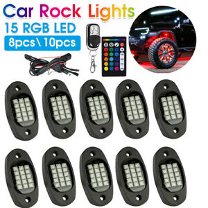 8/10PCS RGB LED Rock Lights DC 12V Car Truck Boat Lamp Under Glow Remote Control