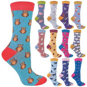 MISS SPARROW - Ladies Novelty Cute Animal Bamboo Socks - Inc Cat Fox Owl & Pig