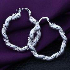 Silver Plated Round Dangle Hoop Earrings New Women Fashion Jewelry 925 Sterling