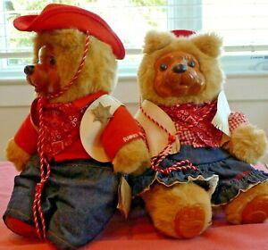 "Set Raikes Plush Bears Western Wood Face Paws Signed Numbered Jesse Bonnie 16"" T"