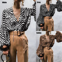 Womens Summer Animal Printed Lace Up Tunic Blouse Top V Neck Puff Sleeve T-shirt