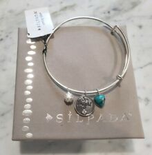 """NEW SILPADA Sterling Silver Turquoise """"Be Bright"""" Bracelet  -B3212-Charms"""