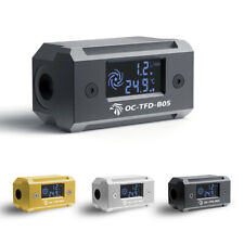 Digital Display Thermometer Flow Meter G1/4 Fitting For PC Water Cooling System