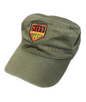 KISS Army Logo Military Cadet Castro Cap Hat - Green - Embroidered VTG Look