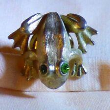 1970's Avon Tiny Frog Tac Lapel Pin Brushed Goldtone Green Rhinestone Eyes