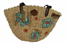 Billabong VAUGHN Beige Turquoise Lined Flower Embroidery Woman's Wicker Purse