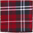 New Men's Polyester Woven pocket square hankie only black red white plaid