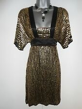 Warehouse Spotlight Gold Sequin Embellished Tunic Evening Occasion Dress Size 10
