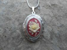 ROSE CAMEO LOCKET NECKLACE-CREAM ROSE/RED-.925 SILV PLATE CHAIN!! UNIQUE!!!