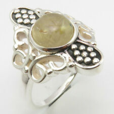 Size 7.75 Free Shipping Low Price 925 Solid Silver Golden Rutile Butterfly Ring