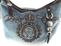 a42c2bf76d JUICY COUTURE BLUE FELT EMBROIDERY TRIM BROWN LEATHER BAGUETTE PRE-OWNED