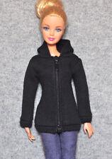 "Barbie Doll Fashion Clothes Long Black Hoodie Coat Jacket For 11.5"" Barbie Dolls"