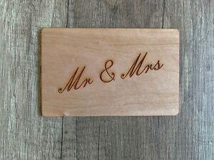 Grußkarte aus Holz Geschenkkarte  Karte Mr & Mrs  Umschlag Hochzeit Glückwunsch