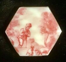 GORGEOUS LARGE HEXAGON CERAMIC BUTTON IN STERLING-BOY WITH GOATS-LINLEY
