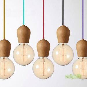 Modern Colorful Wood E27 DIY Ceiling Lamp holder Hanging pendant lights fixture