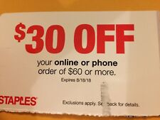 STAPLES coupon >>>: $30 Off $60 Purchase >>> Expires August 18, 2018