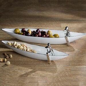 Ceramic Pooch Canoe Large Cracker Serving Tray