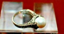Hallmarked Marcasite Ring Sterling Silver Size 6 Mother of Pearl Stone