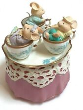 Vintage San Francisco Music Box Co. Enesco Mice In Teacups Music Box Tea For Two