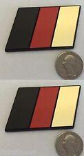 2 MEDIUM SIZE - GOLD GERMAN FLAG EURO BADGE FOR VW AUDI BMW MERCEDES PORSCHE