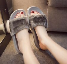 Womens Lady Slipper Slip On Sliders Fluffy Fur Slippers Flip Flop Sandals