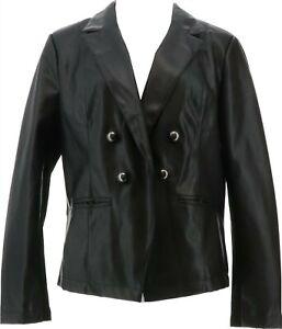 G Giuliana Faux Leather Blazer BLACK XL NEW 708-458
