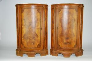 CORNER CABINETS | Pair of antique Inlaid wood Symmetrical Corner Cabinets