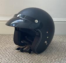 Open Face Motorcycle Helmet With Peak Sun Visor Matt Black Size S