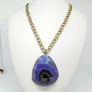 Large Purple Agate Pendant Gold Tone Chain Chic Chunky Statement Necklace