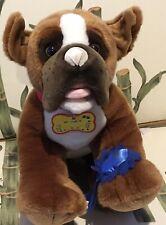 Build A Bear Boxer Dog Top Dog Blue Ribbon Plush stuffed Animal