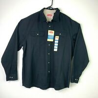 Wrangler Shirt Men XL Black Chambray Relaxed Fit Button Front Long Sleeve Casual