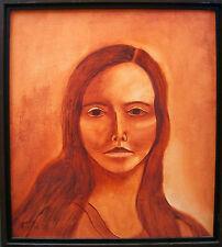 Female Portrait Painting Vintage Original Unique California Bicentennial 1976