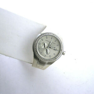 A/X ARMANI EXCHANGE AX5015 White Date SS Silicone Band Quartz WR Analog Watch