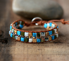 Natural Beaded Wrap Cuff Bracelet, Turquoise, Howlite, Cuff Leather Oblong