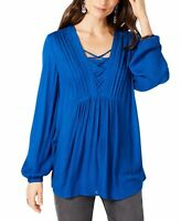 Style & Co Womens Royal Blue Size XL Crisscross Pleated Pintuck Blouse $49 061