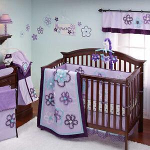 Lavender Flowers Harmony 9pc Crib Bedding Set by NoJo Newborn Baby Girl Gift Set