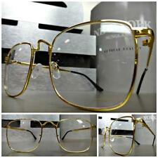 VINTAGE RETRO Style Clear Lens EYE GLASSES Small Square Gold Wire Fashion Frame