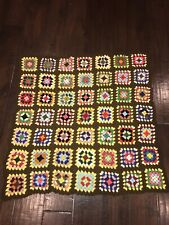 Handmade Crochet Knit Granny Squares Afghan Throw Blanket Lap M