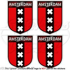 AMSTERDAM Shield Netherlands Holland Dutch 50mm Bumper-Helmet Stickers-Decals x4