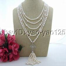 "18"" 5 Strands White Pearl Necklace Cz pendant"