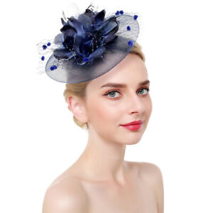 SACASUSA Feather Fascinator Flower Polka Dot Net Headwear Cocktail Hat Hair Clip in 8 Colors