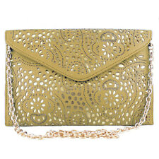 Vincenza Ladies Vintage Laser Cut Evening Leather Envelope Clutch Shoulder Bag