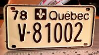 "QUEBEC - 1978 ""V"" series RESTRICTED ACCESS license plate - brown on cream"